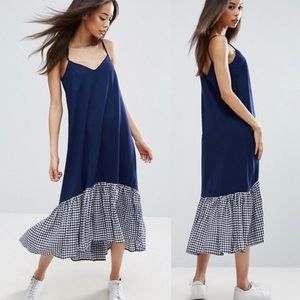 ASOS | Maternity Dropped Hem Gingham Midi Dress